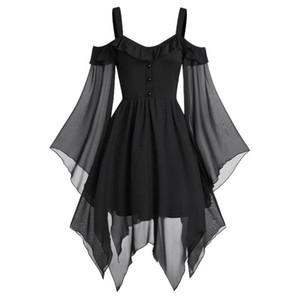 Plus Size Women shirt Cross Lace Insert Flare Sleeve shirt Tops Goth Punk Style Sleeveless Dress Irregular Elegant
