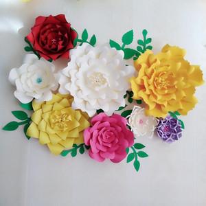 Giant Paper Flowers 8PCS + Leaves 10PCS Wedding Backdrop Photography Bridal Shower Centerpiece Photo Shoots Archway Decor