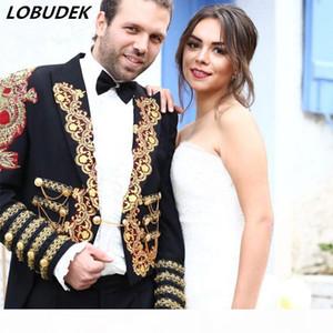 2017 male Red blue magic long jacket party wedding groom blazer prom royal tuxedo formal dress pigeon magic dovetail singer dancer Costyume