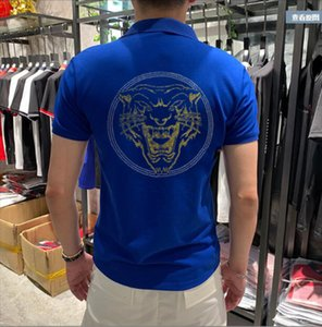 Manica Ganbu Short Make Fine Casual Fashion Diamond Qualità Superiore Pietra Uomo Asian Dimensioni asiatiche M-4XL Cotone Polo Shirt Eemj