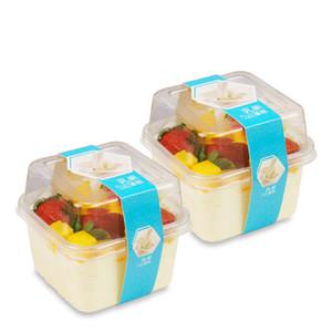 Scatola torta trasparente quadrata vuota mousse per feste di nozze Clear Plastic Plastic Bupcake Yogurt Boxs con coperchio DHF3548