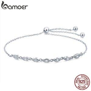 Bamoer Trendy 925 Sterling Silver Cadena de gota Pulseras Para Mujeres Luminoso CZ Pulsera de Moda Joyería Haciendo Regalo LJ201020
