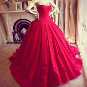 Vintage Princess Red Wedding Dresses Formal Dress Ball Gowns Bodice Sweetheart Floor Length Big Bow Back Backless Wedding Bride Dresses