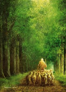 A.4 Yongsung Kim NARROW IS THE WAY Jesus with Sheep Home Decor Handpainted &HD Print Oil Painting On Canvas Wall Art Canvas Pictures Js18