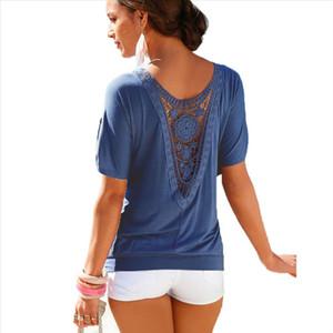 Plus Size Tops Blouse Shirt XXXXL 5XL Lace Hollow Red Black Casual Women Summer Ladies Fashion Clothing Female Woman Clothes