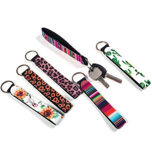 Neoprene Key Ring Diving material wrist strap Wristlet Keychains Lanyard Prints Key Chain Hand Wrist Lanyard Keychain ZYY46