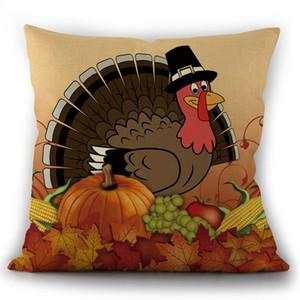 Thanksgiving Pillowcase Thanksgiving Cartoon Turkey Pumpkin Maple Leaf Linen Pillowcase Cushion Cover Amazon Hot Home Pillow DHL Free