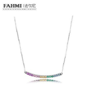 FAHMI 100% 925 Sterling Silver New Rainbow Necklace Colorful Colorful Charm Zircon Rainbow Clavicle Chain