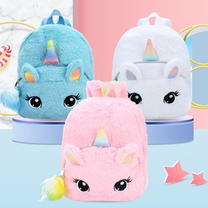 2021 Children's Toys Wholesale Big Eyes Unicorn Girl Plush Toy Backpack Kindergarten Baby Bag Cute Cartoon Schoolbag Girl 30cm