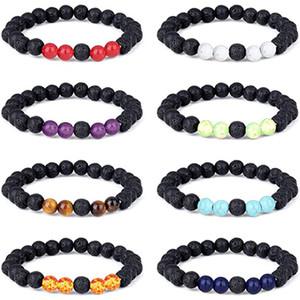 8MM Natural Lava Rock Stone Bracelet Colorful Chakra Beads Bracelets for women Men Volcanic Yoga Elastic Energy Bangle Jewelry Kimter-L951FA