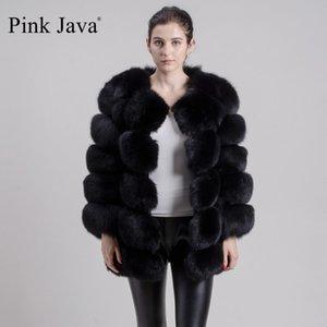 Pink Java QC8078 Gran venta Envío gratis Mujeres Invierno Real Fox Four Capa de pieles de manga larga Chaqueta de piel de zorro Ropa de piel de lujo 201113
