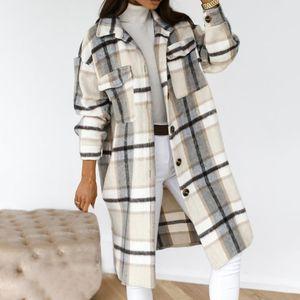 2020 Winter Checked Women Jacket Down Overcoat Warm Plaid Long Coat Oversize Thick Woolen Blends Retro Female Streetwear
