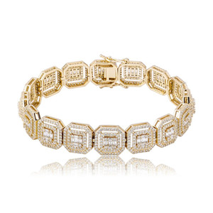 New 13mm Personalized Baguette Bracelet Miami Cuban Chain Bracelets High Quality Iced Out Cubic Zirconia Hip Hop Jewelry For Women Men Gift