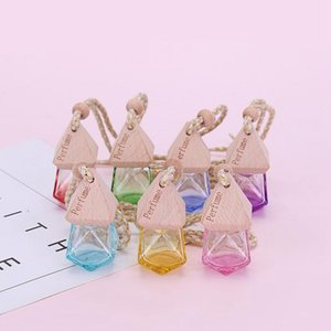 Car Perfume Bottle Pendant Essential Oil Diffuser 7 Colors Bag Clothes Ornaments Air Freshener Pendant Empty Glass Bottle Perfume HWA2471