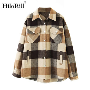 HiloRill Women Loose Casual Wool Plaid Jacket Turn Down Collar Fashion Coat With Pockets Autumn Long Sleeve Ladies Jackets Coats B1203