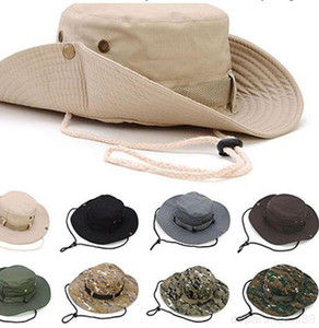 Wide Brim Cowboy Adults Army Outdoor Collapsible Fishing Golf Sun Boonie Hat Fashion Bucket party Hats DHA337