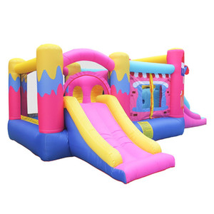 Garden Supplie Fast Delivery Girl Icecream Inflatable Pink Ice Cream Bouncer Castle Jumper Bouncy House With air Blower for kids Gardens Fun Backyard Play