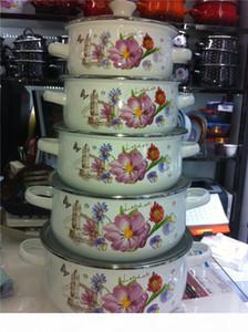 5pots Set de cazuela de esmalte Embalaje Cocinar Pots Hot Cocinero Pot Cerámica Utensilios de cocina Cerámica Sow Soup Pot
