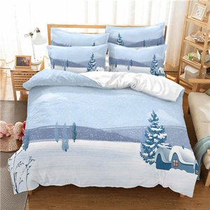 Lovely Cartoon Snow printing Bedding sets Duvet cover Bedding set with Pillowcases for winter