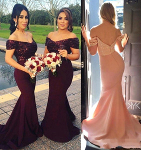 Off Ombro Dama de Honra Vestidos 2021 Sereia Backless Cap Sleeve Lantejoulas Long Maid of Honor Vestidos Noite Party Vestidos Plus Size