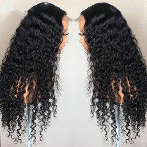 Deep Wave Closure Wig Human Hair Lace Frontal Wigs 180 Lace Front Wig Pre Plucked Bleached Knots Wigs Remy 4x4 Frontal Lace Wig54