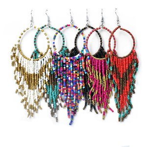 Chadestinty Women Bohemian Long Tassel Earrings Resin Seed Bead Drop Earring Jewelry Indian Statement Earings pendientes