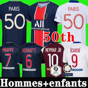 50th NEYMAR MBAPPE ICARDI MAILLOTS DE FOOTBALL PSG JORDAN 19 20 21 soccer jersey de la psg 2019 2020 2021 maillot foot Paris saint germain kit chemise PSG enfant SETS enfants