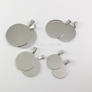 30pcs lot Mirror Polish Round Stainless Steel Necklace Blank Stamping Pendants For Jewelry Making DIY Pet ID Dog Cat Tags Q1119