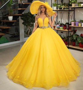 Yellow Ball Gown Quinceanera Dresses with Sash Crystals Beads Sweetheart Graduation Dress Tulle Appliques Prom Gowns Sweet 15 Prom Dress