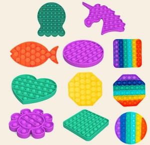 Empurre Bubble Pop It Fidget Toy Sensory Silicone Reliever Estresse Ansiedade Alívio Autismo Especial Precisa Soft Squeeze Toy GGF3847