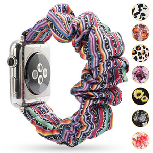 Floral Scrunchie Watchband Leopard / Cor Sólida / Strip Scruncle Pano Fashion Fashion Band 38m 42mm para iWatch 4/3/2/1 33 Cores