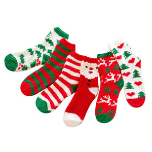 Noel Çorap Kış Sıcak Kadife Çorap Yumuşak Ev Terlik Çorap Kaymaz Zemin Stocking Orta Tüp Xmas Süslemeleri için HH9-3588