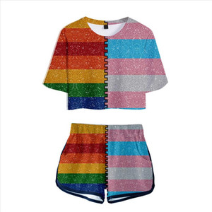 Free LGBT lovely sets Print Women 2 Piece Set Summer Sexy Short Sleeve t shirt Shorts Rainbow Design sets Streetwear Clothes