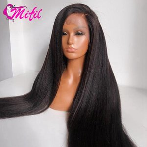 Mifil Peruvian Kinky Straight 13x4 Lace Front Human Hair Wigs Pre Plucked Yaki Lace Closure Wig Remy Frontal Human Hair Wig