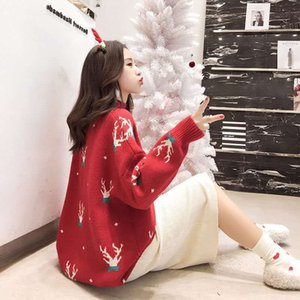 2020 Autumn and Winter New Internet Celebrity Lazy Womens Jacquard Christmas Turtleneck Sweater Womens Loose Long Sleeve Mid-Length Top