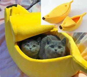 Cute Pet Kennel Bed Cat Banana Warm Dog Nest Bed Home Fluffy Peel Fleece Plush Warm Shape Pet Nest sqcXz bbgargden