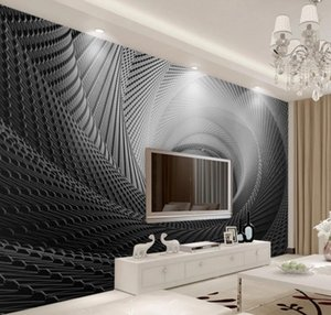 Custom 3D Mural Wallpaper 3D Circle Stereo Indoor TV Background Wall Wallpaper For Living Room Bedroom