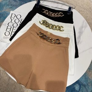 2020 Autumn New Super Golden Chain Design Solid Color Temperament Lady OL Shorts Drop Shipping Good Quality