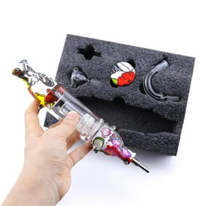 Glass Nectar Collector Premium Tobacco Bag Set Wax Container Silicone bong with Titanium nail Storage Jar Metal Dabber Smoking Pipe