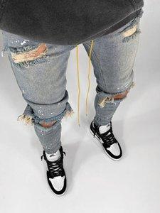 Kstun caras rasgados jeans skinny joelho buracos quebrados hip hop jeans homens afligidos pintura preta azul1
