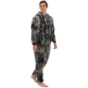 Мужчины Флис повседневные Rompers Пижамы моды Trend с длинным рукавом кардиган с капюшоном Pajamas весенний мужской галстук-краска свободный домашний сиамский пижам
