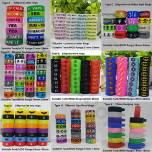 Custom Ecig Silicone Vape Banda Colorful Rubber Anel Personalizado Silicon Bands com seu logotipo ou nome para E Cigarro Vapor Mod Tank Vidro