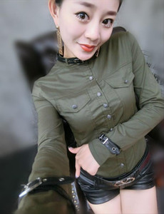 Office Work Women Shirts Long Sleeve Amry Green Blouses Femme Pu Leather Deco Womens Shirt Lady Blouses Tops