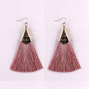 Bohemian Silk Tassel Triangle Statement Earrings for Women Soft Tassels with Polished Gold Metallic Dangle Earrings Boho Jewelry Gift