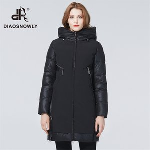 Jaqueta de inverno diaosnowly new inverno para mulheres casacos elegantes parka longa roupa quente mulher 201212