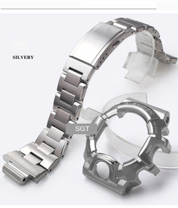 for GW-9400 316 Stainless Steel Sliver Gold Watchband Men Metal Buckle band Watch Case Bezel Tool LJ201123