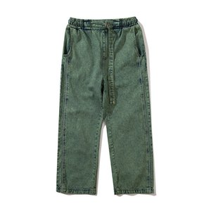 Lavaggio dei pantaloni dritti Denim uomo Donna 2021 Elastic Waist Draw String Uomo Jeans