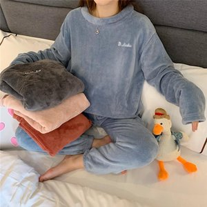 Coral Velvet Pajamas Winter Plus Thickened Outer Home Service Two-Piece Warm Pants