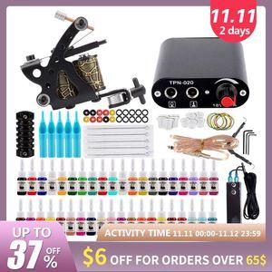 Starter Tattoo Machine Set 1 Coils Guns 40 Colors Pigment Inks Sets Black Power Tattoo Beginner Grip Permanent Makeup Kit
