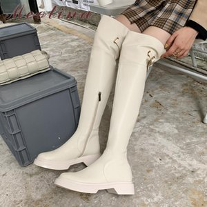 Meotina Real Leather Over The Knee Boots Women Platform Med Heel Shoes Buckle Square Heel Long Boots Zip Female Thigh High